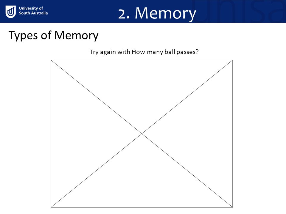 Types of Memory Try again with How many ball passes? 2. Memory