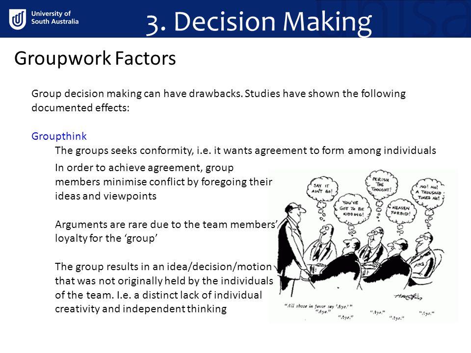 Groupwork Factors Group decision making can have drawbacks.