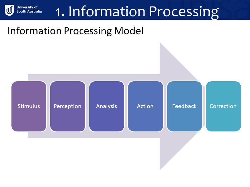 1. Information Processing Information Processing Model StimulusPerceptionAnalysisActionFeedbackCorrection