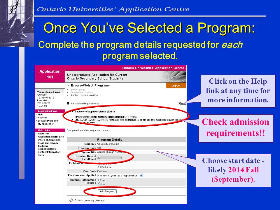 Complete the program details requested for each program selected.