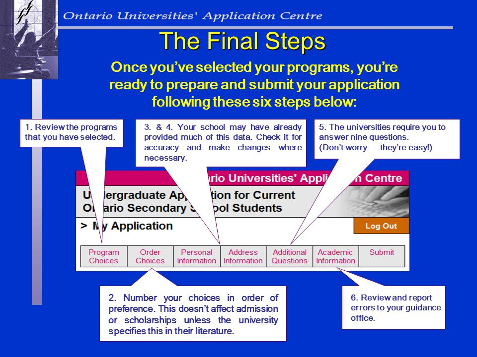 Once youve selected your programs, youre ready to prepare and submit your application following these six steps below: The Final Steps 1.