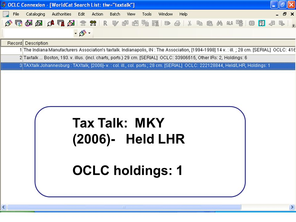 Tax Talk: MKY (2006)- Held LHR OCLC holdings: 1