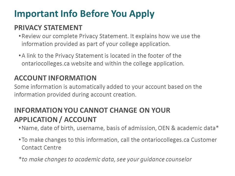 Important Info Before You Apply PRIVACY STATEMENT Review our complete Privacy Statement.