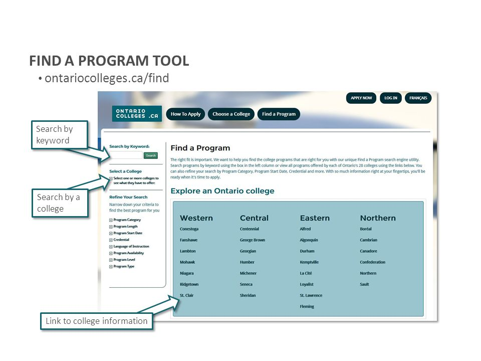 FIND A PROGRAM TOOL ontariocolleges.ca/find Search by keyword Search by a college Link to college information