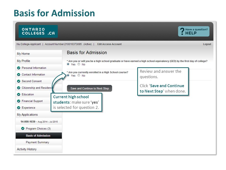 Basis for Admission Review and answer the questions.