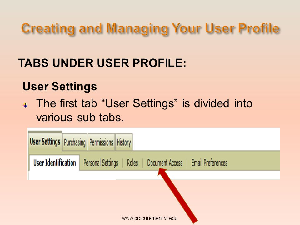 TABS UNDER USER PROFILE: User Settings The first tab User Settings is divided into various sub tabs. www.procurement.vt.edu