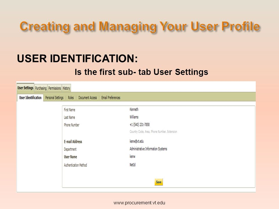 USER IDENTIFICATION: www.procurement.vt.edu