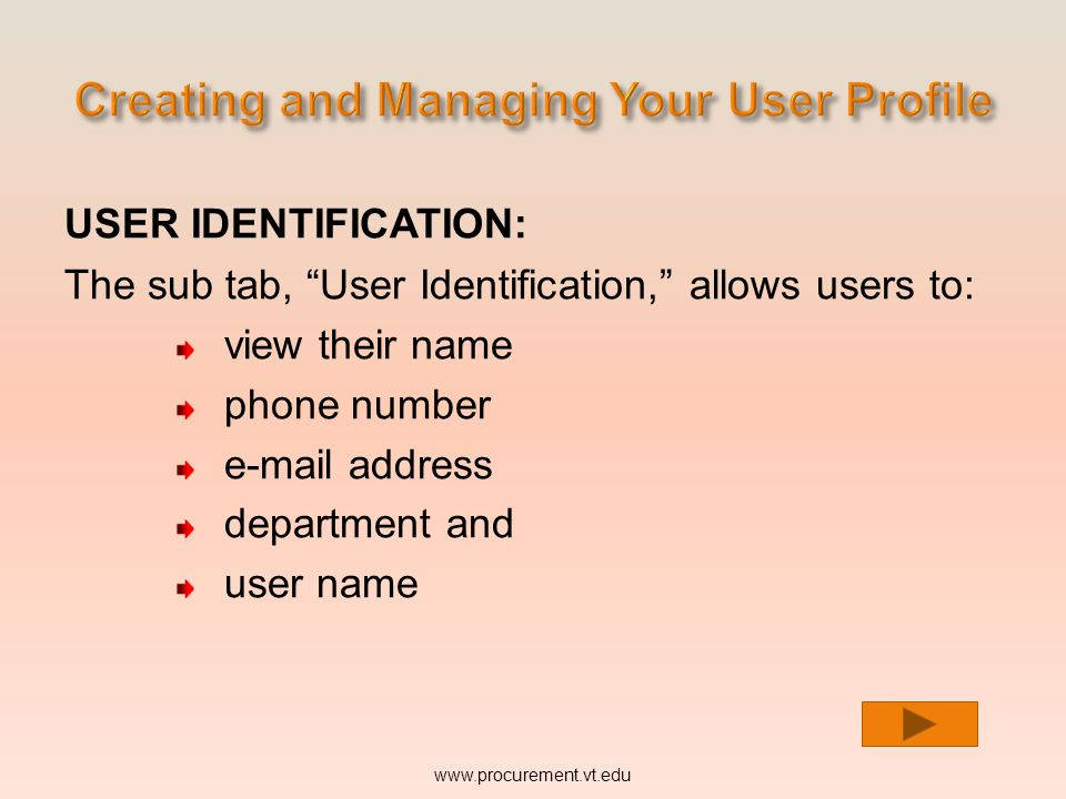 USER IDENTIFICATION: The sub tab, User Identification, allows users to: view their name phone number e-mail address department and www.procurement.vt.