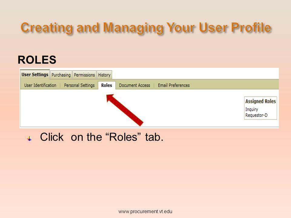 ROLES www.procurement.vt.edu