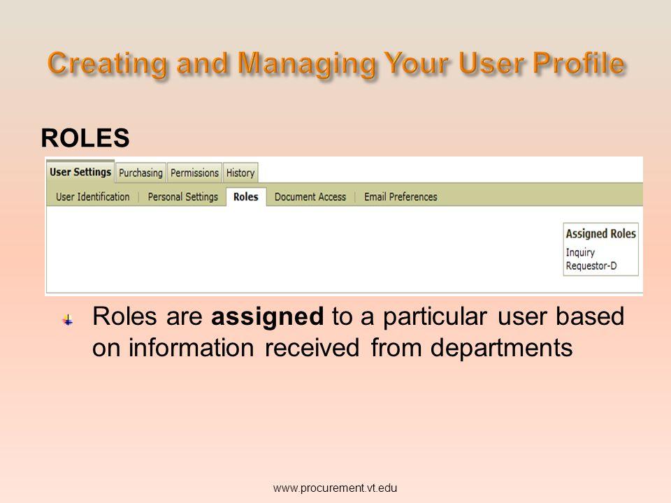 ROLES Click on the Roles tab. www.procurement.vt.edu