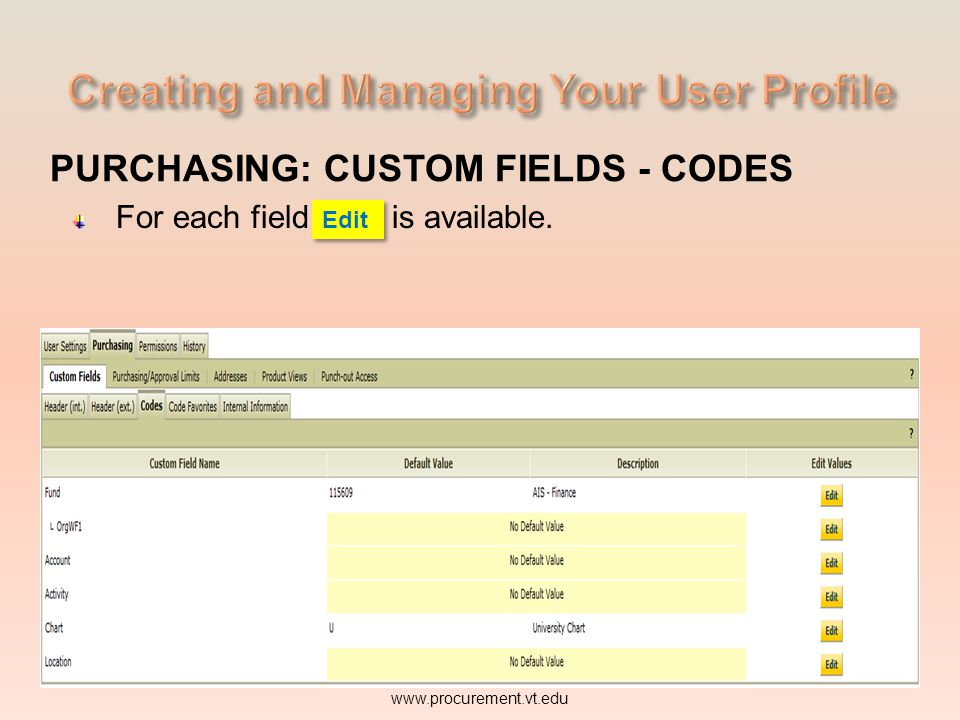 PURCHASING: CUSTOM FIELDS - CODES Lets look briefly at two of the fields required when processing a purchase requisition (PR) Fund and Account. www.pr