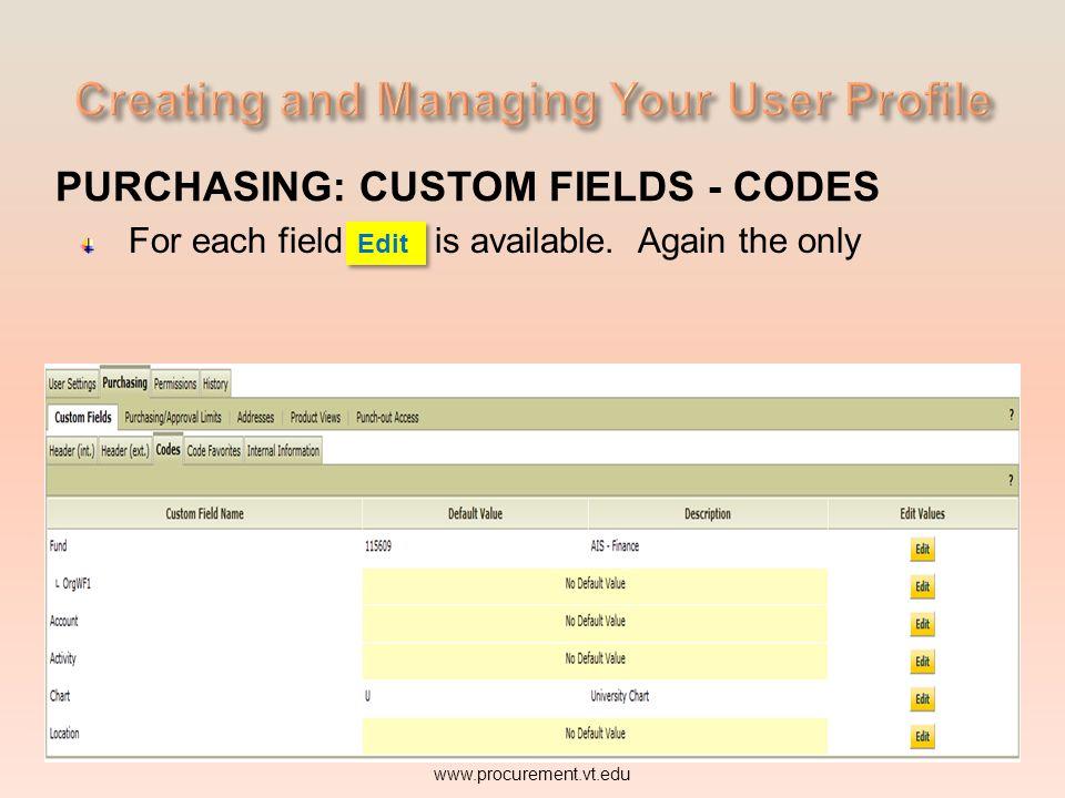 PURCHASING: CUSTOM FIELDS - CODES For each field Edit is available. www.procurement.vt.edu Edit