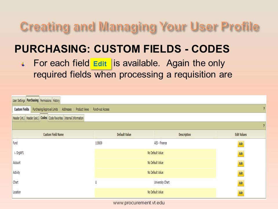 PURCHASING: CUSTOM FIELDS - CODES For each field Edit is available. Again the only www.procurement.vt.edu Edit