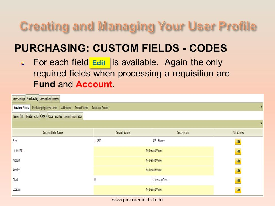 PURCHASING: CUSTOM FIELDS - CODES For each field Edit is available. Again the only required fields when processing a requisition are Fund and www.proc