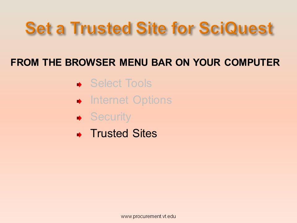 FROM THE BROWSER MENU BAR ON YOUR COMPUTER Select Tools Internet Options Security www.procurement.vt.edu