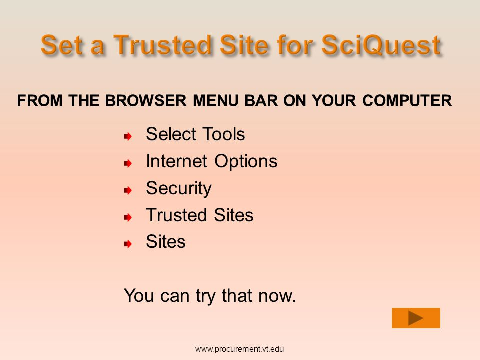 FROM THE BROWSER MENU BAR ON YOUR COMPUTER Select Tools Internet Options Security Trusted Sites Sites www.procurement.vt.edu