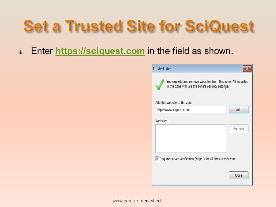 FROM THE BROWSER MENU BAR ON YOUR COMPUTER: www.procurement.vt.edu This will bring up the Trusted sites window:
