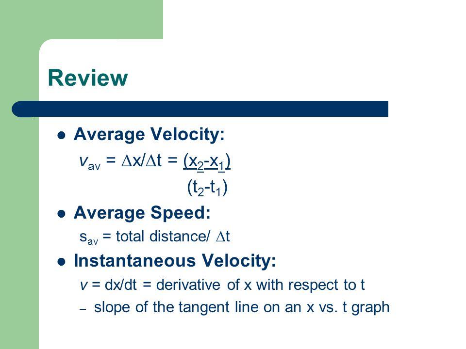 Review Average Velocity: v av = x/ t = (x 2 -x 1 ) (t 2 -t 1 ) Average Speed: s av = total distance/ t Instantaneous Velocity: v = dx/dt = derivative