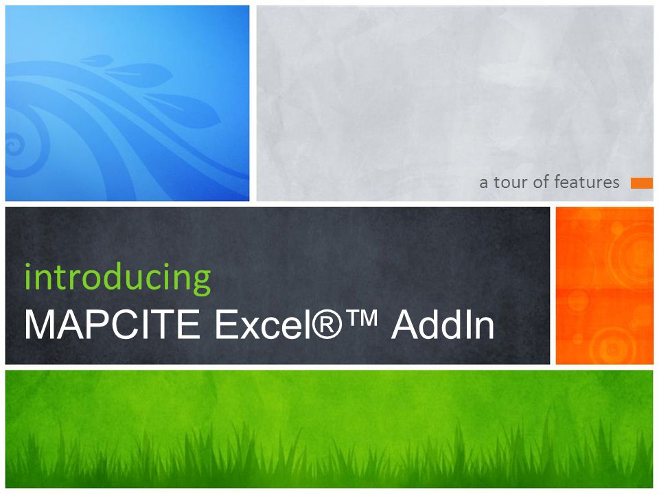 Whats Your Message? MAPCITE Excel® AddIn