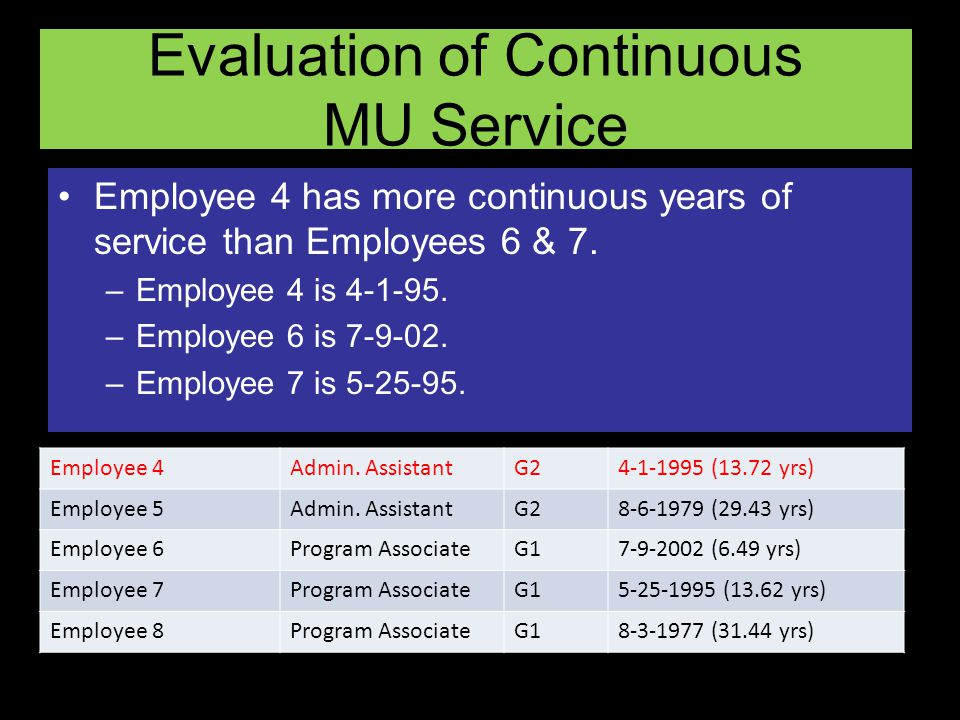 Evaluation of Continuous MU Service Employee 4 has more continuous years of service than Employees 6 & 7.