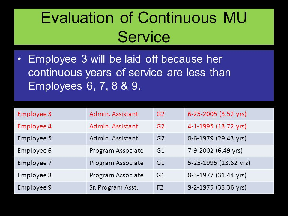 Evaluation of Continuous MU Service Employee 3 will be laid off because her continuous years of service are less than Employees 6, 7, 8 & 9. Employee