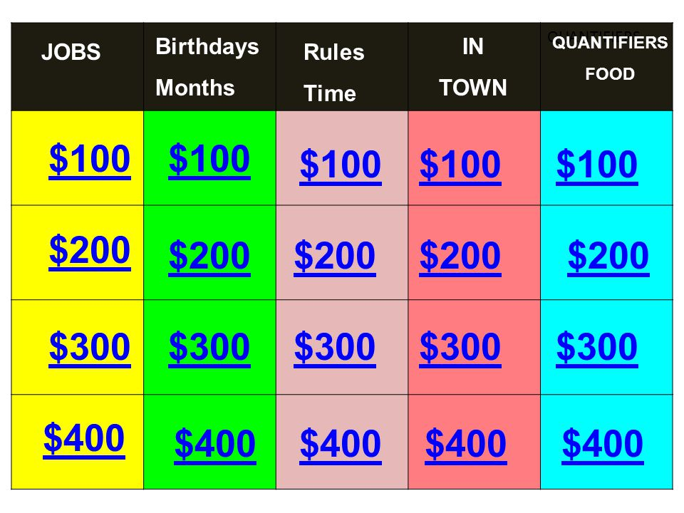 QUANTIFIERS $100 $200 $300 $400 $100 $200 $300 $400 $300 $200 $100 JOBSRules Time IN TOWN QUANTIFIERS FOOD Birthdays Months