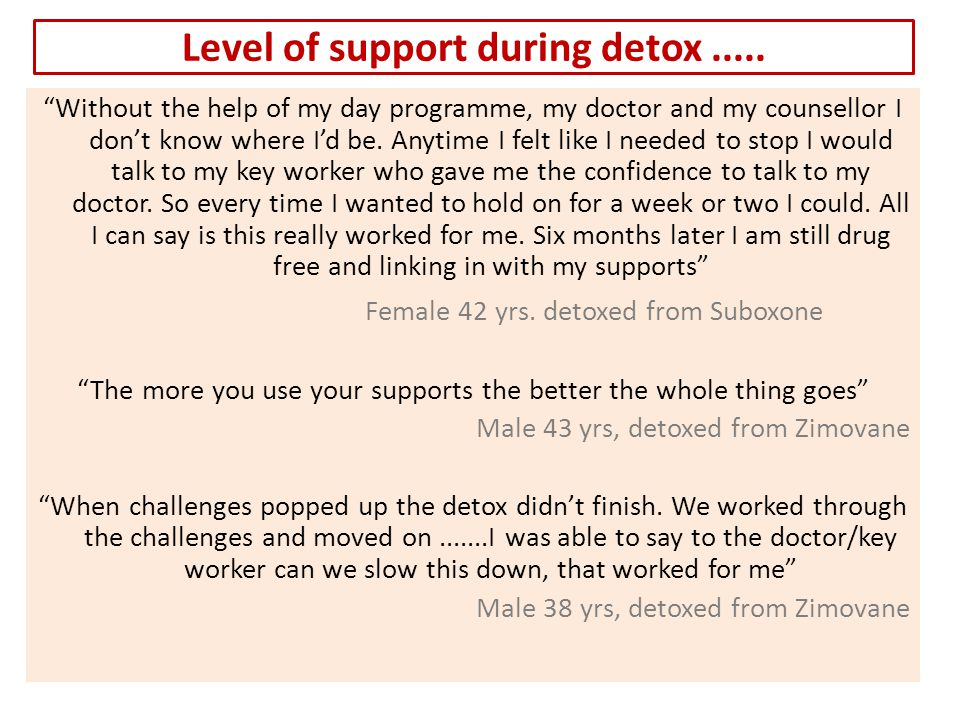 Level of support during detox.....