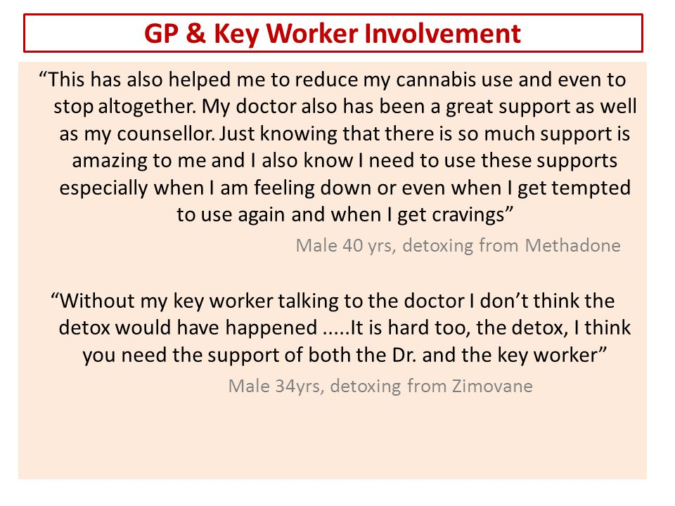 GP & Key Worker Involvement This has also helped me to reduce my cannabis use and even to stop altogether.