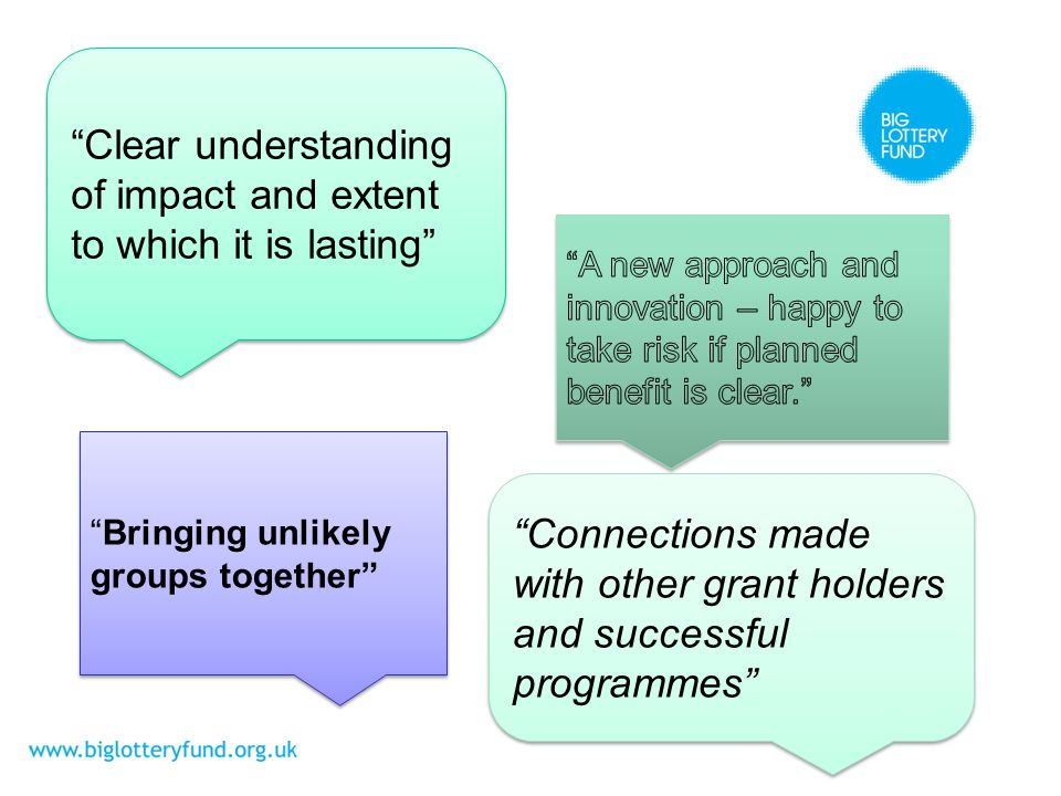 Clear understanding of impact and extent to which it is lasting Bringing unlikely groups together Connections made with other grant holders and successful programmes