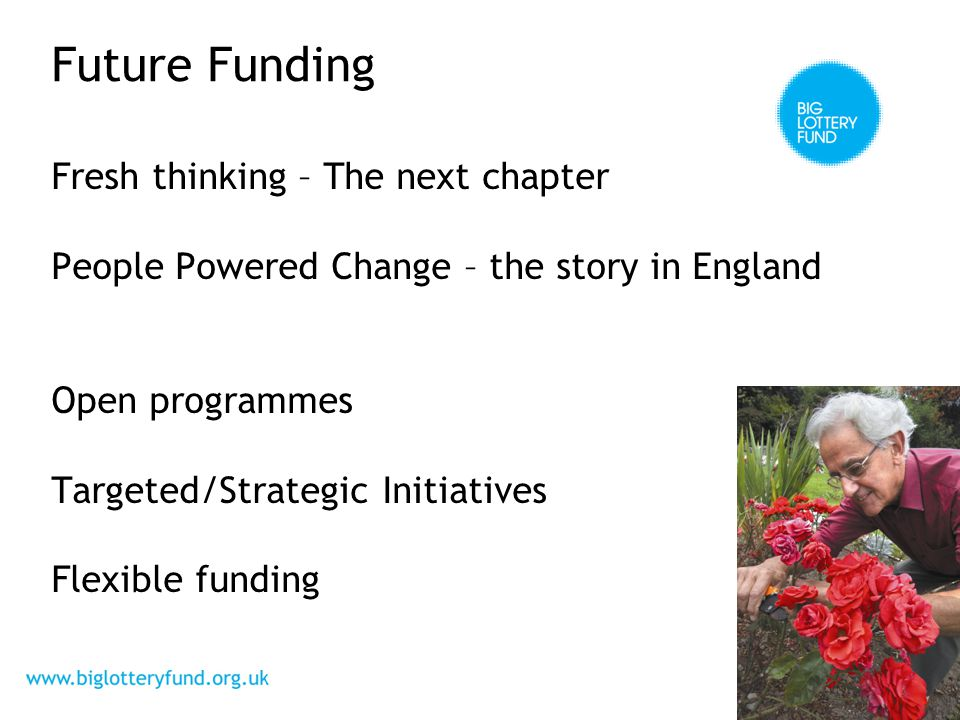 Future Funding Fresh thinking – The next chapter People Powered Change – the story in England Open programmes Targeted/Strategic Initiatives Flexible funding