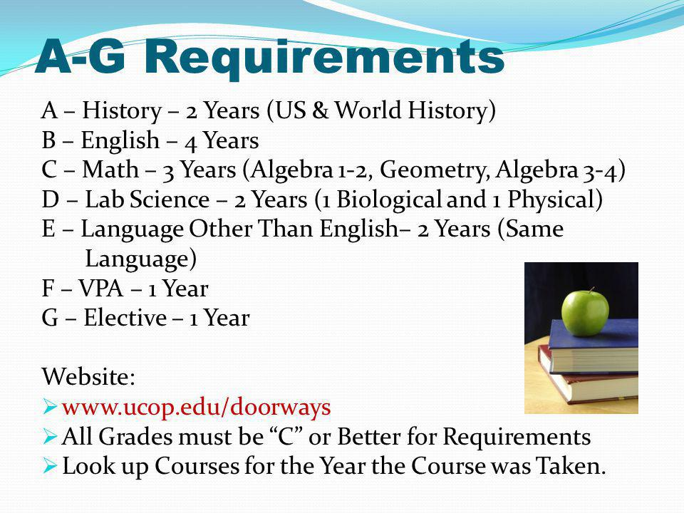 A-G Requirements A – History – 2 Years (US & World History) B – English – 4 Years C – Math – 3 Years (Algebra 1-2, Geometry, Algebra 3-4) D – Lab Science – 2 Years (1 Biological and 1 Physical) E – Language Other Than English– 2 Years (Same Language) F – VPA – 1 Year G – Elective – 1 Year Website: www.ucop.edu/doorways All Grades must be C or Better for Requirements Look up Courses for the Year the Course was Taken.