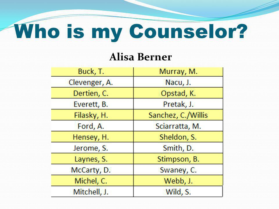 Who is my Counselor Alisa Berner