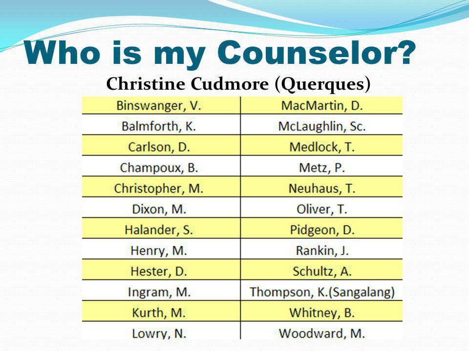 Who is my Counselor Christine Cudmore (Querques)