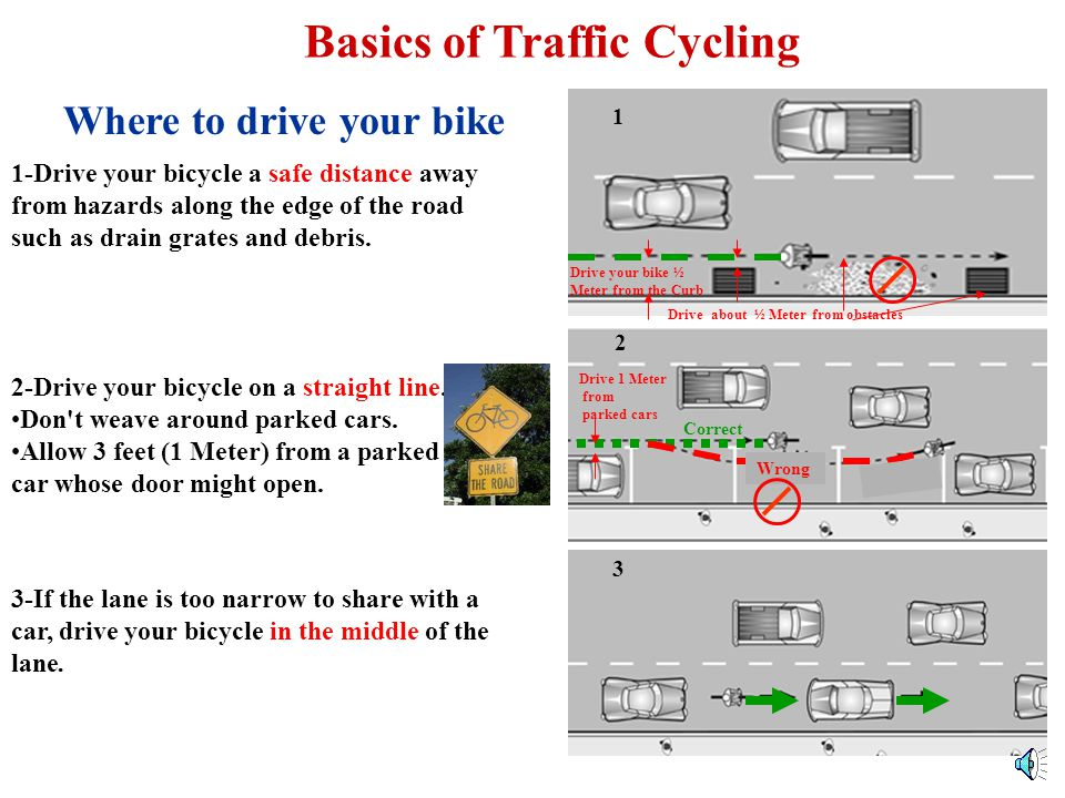 18 Basics of Traffic Cycling When driving your Bicycle you are considered a vehicle and must obey all traffic laws.