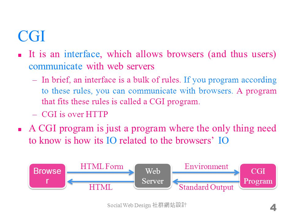 CGI It is an interface, which allows browsers (and thus users) communicate with web servers –In brief, an interface is a bulk of rules.