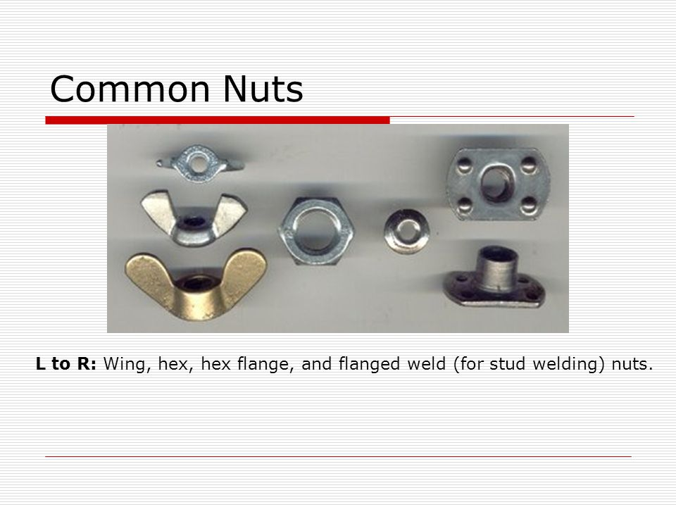 Common Nuts L to R: Wing, hex, hex flange, and flanged weld (for stud welding) nuts.