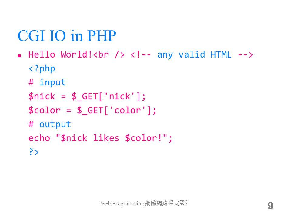 CGI IO in JSP Hello World! Web Programming 10