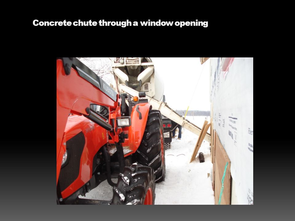 Concrete chute through a window opening