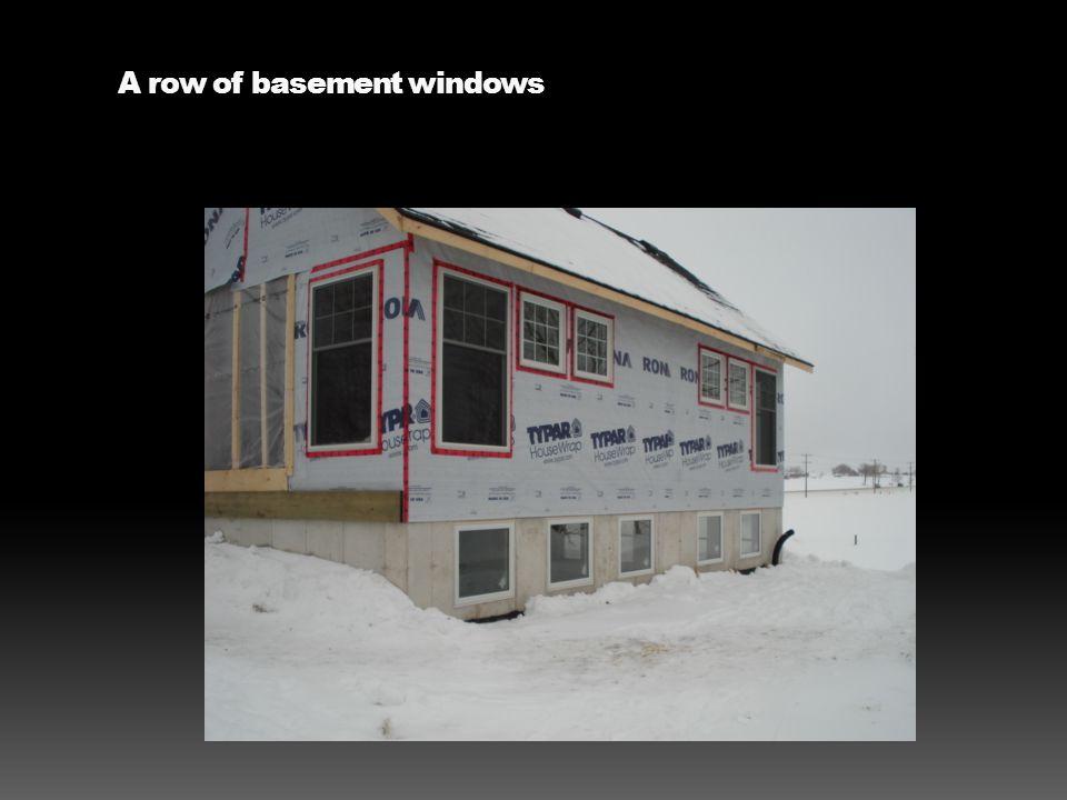 A row of basement windows