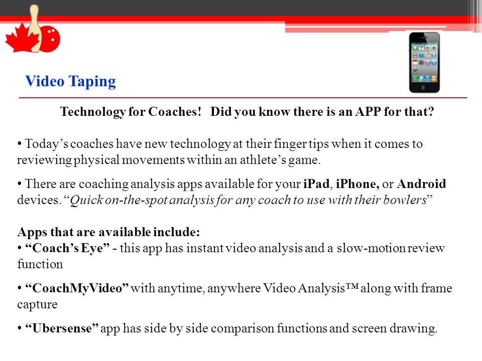 Technology for Coaches. Did you know there is an APP for that.
