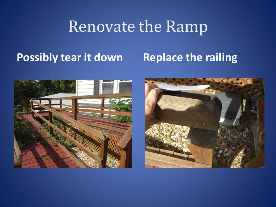 Renovate the Ramp Possibly tear it downReplace the railing