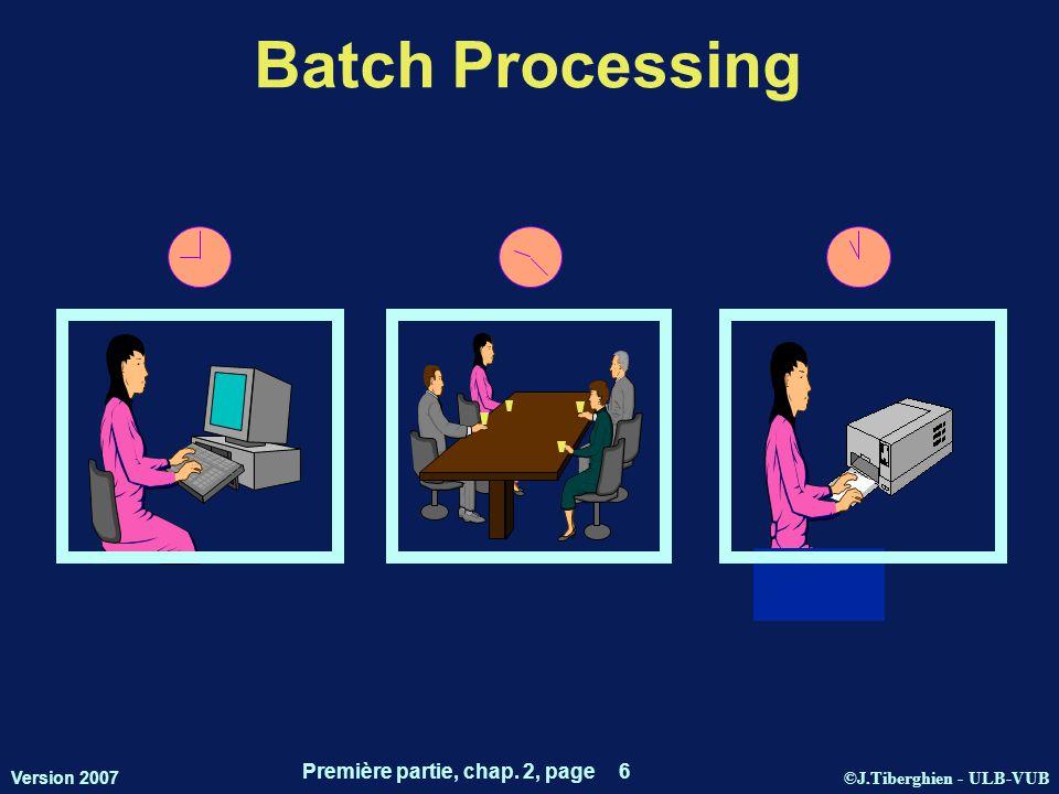 ©J.Tiberghien - ULB-VUB Version 2007 Première partie, chap. 2, page 6 Batch Processing