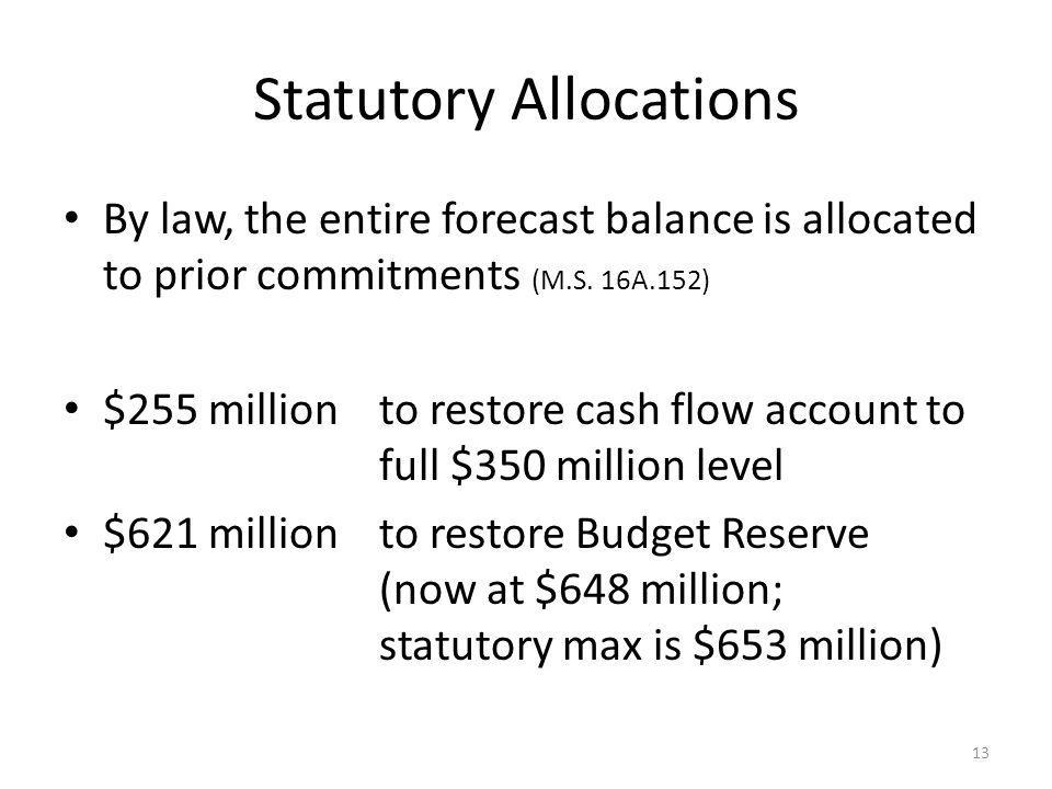 Statutory Allocations By law, the entire forecast balance is allocated to prior commitments (M.S.