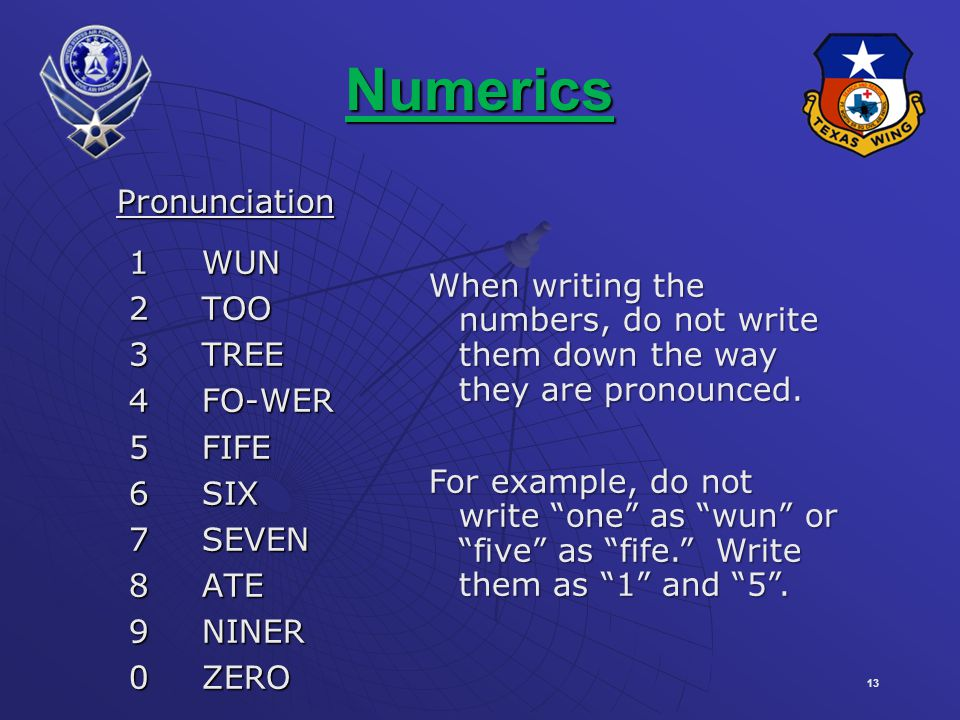 13 Numerics Pronunciation Pronunciation 1WUN 1WUN 2TOO 2TOO 3TREE 3TREE 4FO-WER 4FO-WER 5FIFE 5FIFE 6SIX 6SIX 7SEVEN 7SEVEN 8ATE 8ATE 9NINER 9NINER 0ZERO 0ZERO When writing the numbers, do not write them down the way they are pronounced.