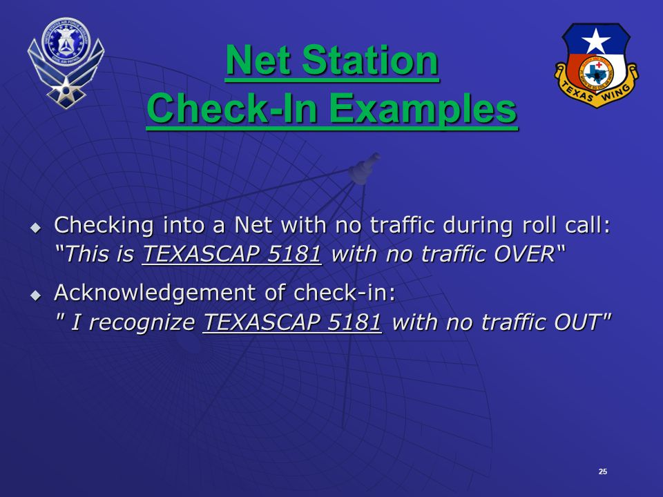 25 Net Station Check-In Examples Checking into a Net with no traffic during roll call: Checking into a Net with no traffic during roll call: This is TEXASCAP 5181 with no traffic OVER Acknowledgement of check-in: Acknowledgement of check-in: I recognize TEXASCAP 5181 with no traffic OUT