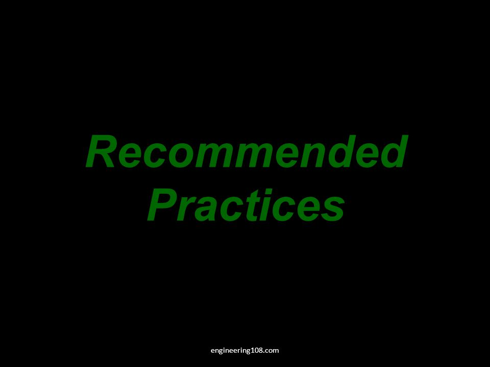 Recommended Practices engineering108.com