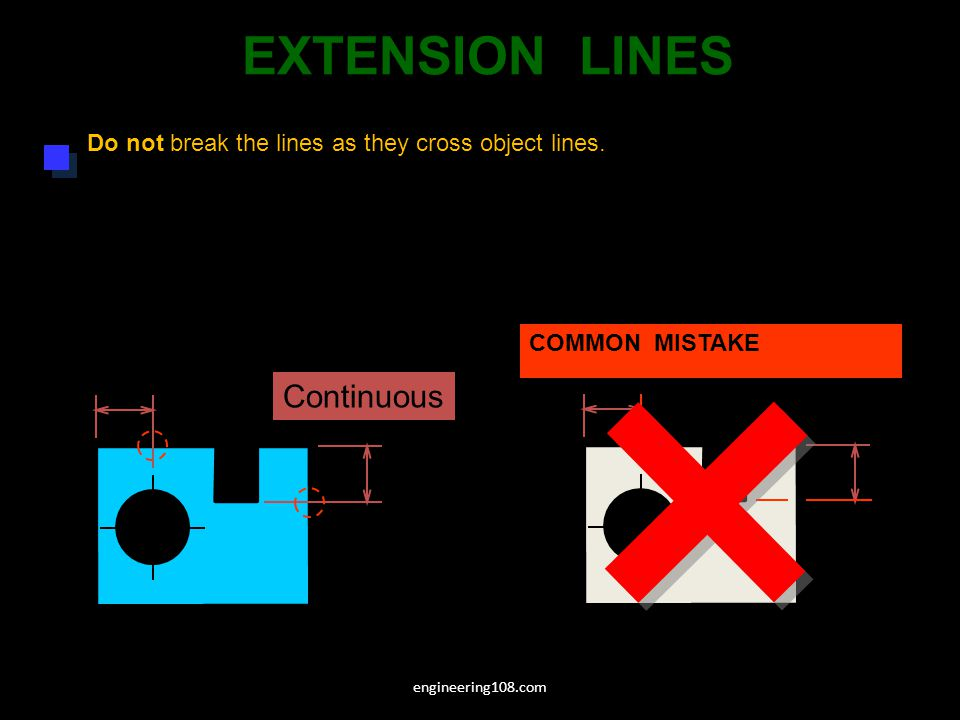 Do not break the lines as they cross object lines.