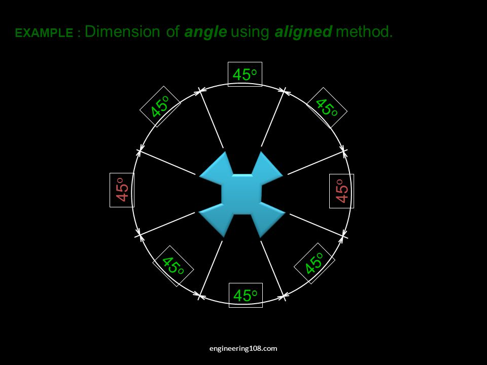 45 o EXAMPLE : Dimension of angle using aligned method. engineering108.com