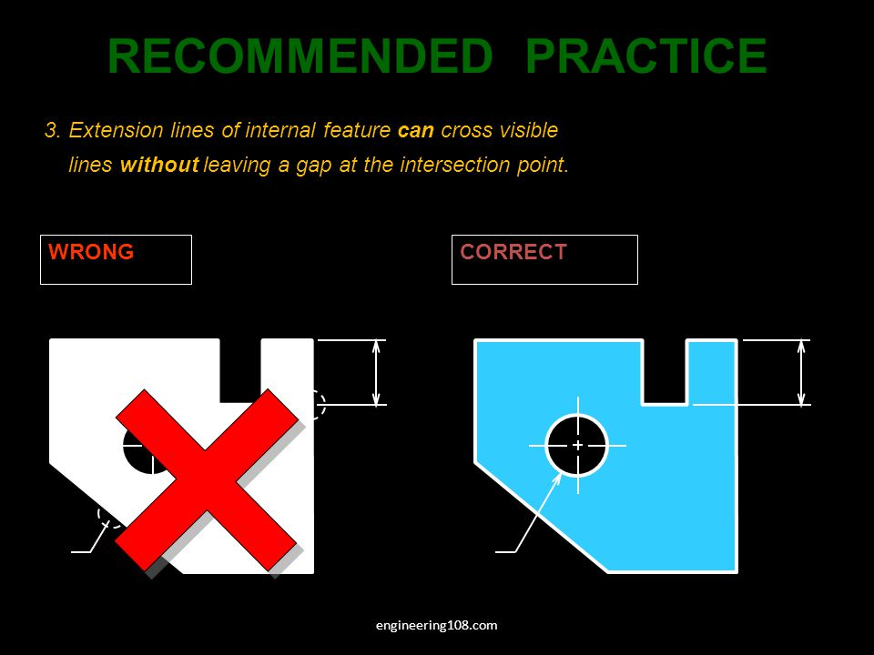 3. Extension lines of internal feature can cross visible lines without leaving a gap at the intersection point. WRONGCORRECT RECOMMENDED PRACTICE engi