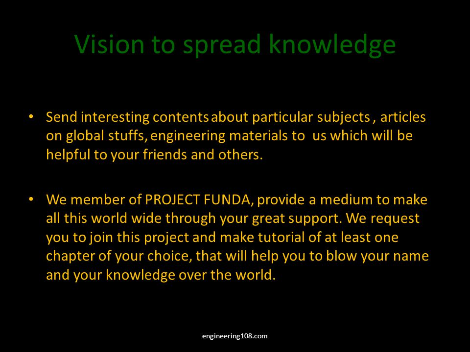 Vision to spread knowledge Send interesting contents about particular subjects, articles on global stuffs, engineering materials to us which will be helpful to your friends and others.